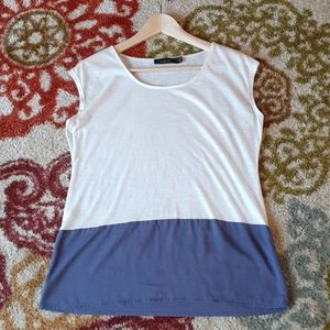 The Limited Scoop Neck Color Block white w/purple